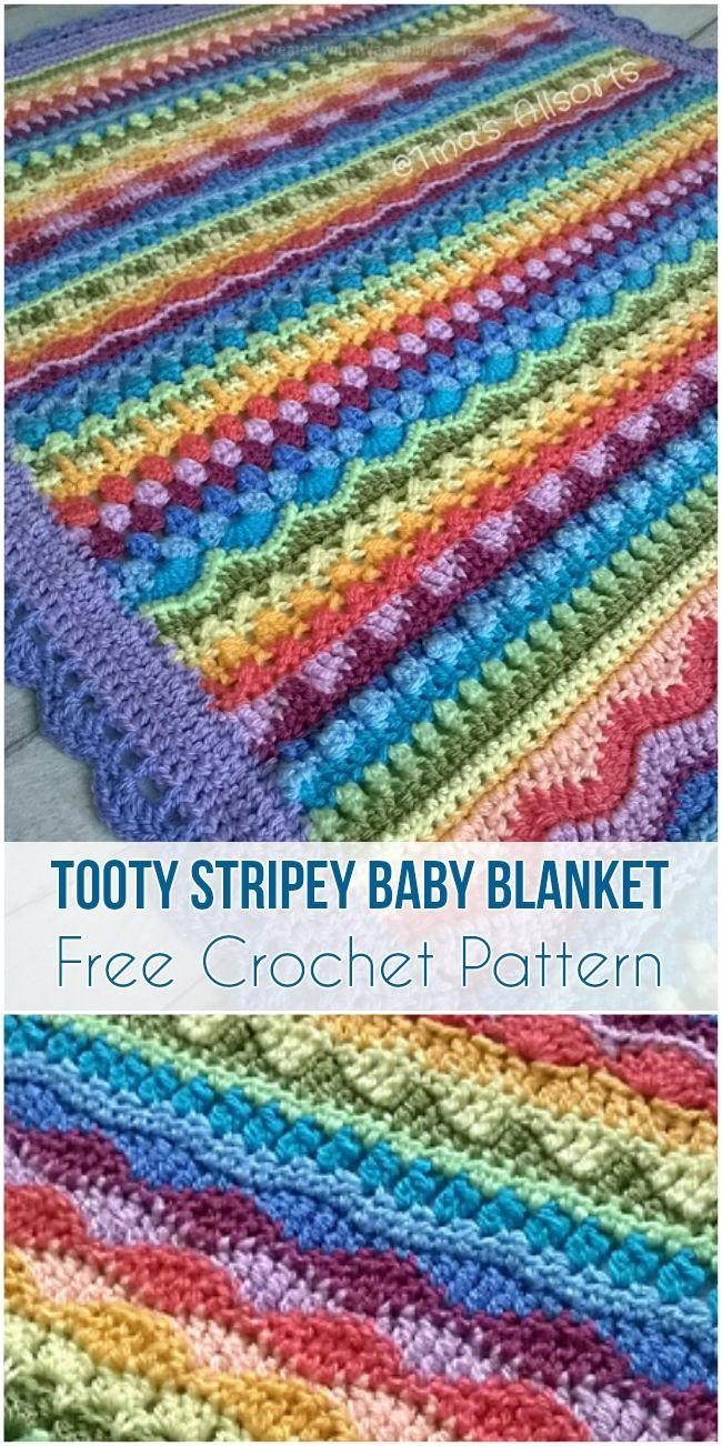 Tooty Stripey Baby Blanket [Free Crochet Pattern] #crochet #freecrochetpatterns #babyblanket #stripeyblanket #babyshowergifts #crochetpattern #yarn #motif #stitch