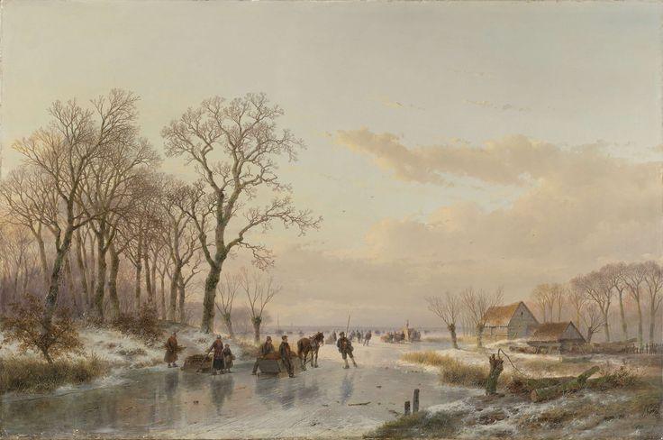 Een bevroren vaart bij de Maas, Andreas Schelfhout, 1867