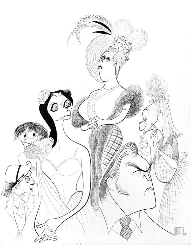 "Al Hirschfeld ~ Celeste Holm, Kristoffer Tabori, Jean Marsh, Rachel Roberts, June Havoc, and Donald Sinden in ""Habeas Corpus"" - ChrisBeetlesGallery"