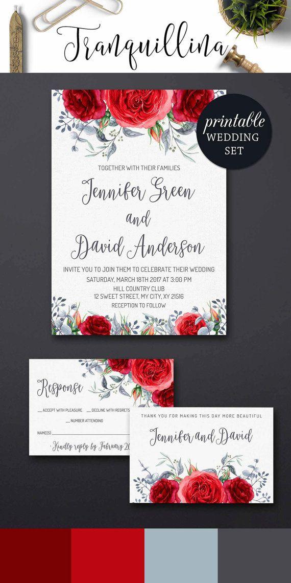Floral Wedding Invitation DIY, Red Wedding Invitations, Watercolor Roses Wedding Invitation Romantic Boho Wedding Trends.tranquillina.etsy.com