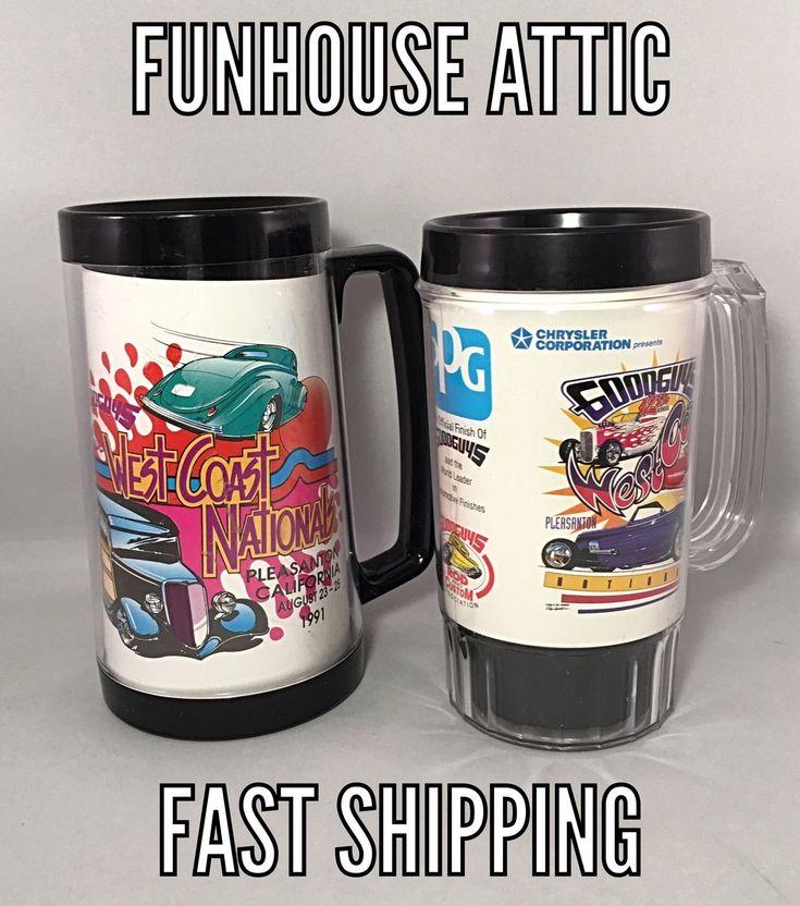 "Goodguys (set Of 2) Plastic Mugs West Coast Nationals 1991 & 1998 6.25"" Tumblers"