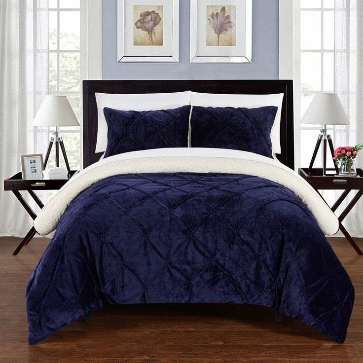 Chic Home 3-Piece Chiara Bed-In-A-Bag Navy Comforter 3 Piece Set