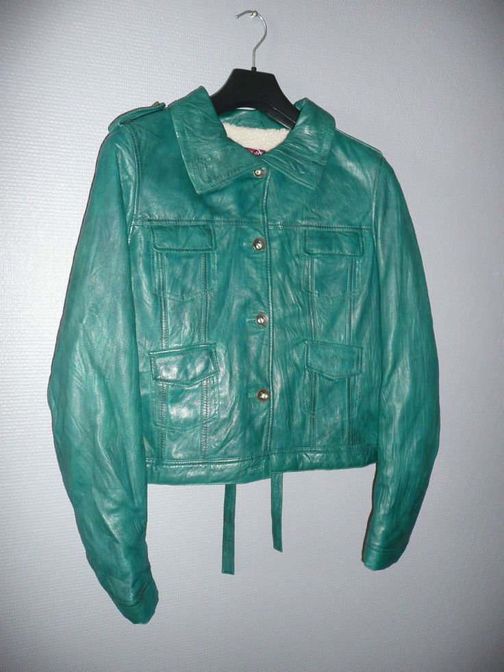 Veste cuir turquoise femme