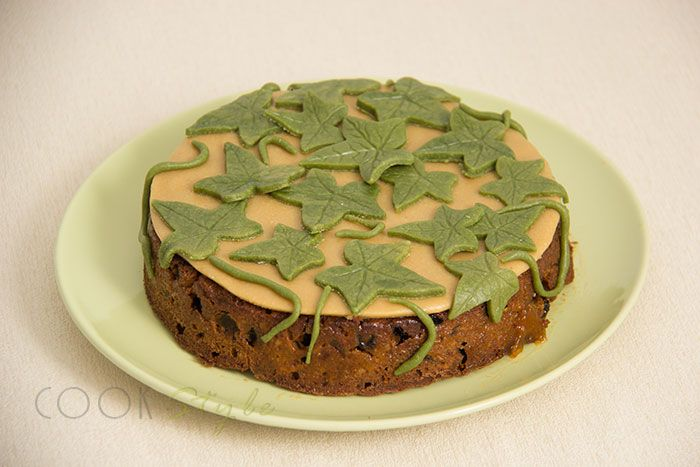 Victorian fruit cake with lots of dried fruits and homemade marzipan.