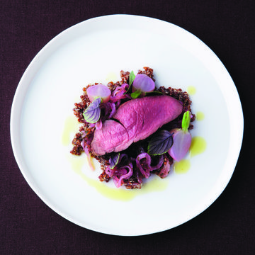 Venison filet with basil quinoa and red onion relish | FOUR Magazine