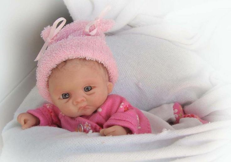 Ooak polymer clay original handsculpted collector baby girl doll 5 quot m