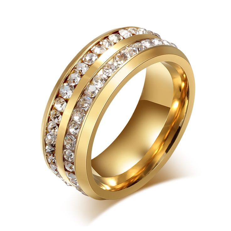 Meaeguet 8mm Fashion Crystal Rings for Women Double 2 Row of Channel Set CZ Wedding Ring Bands Jewelry  Black/Gold/Silver Plated