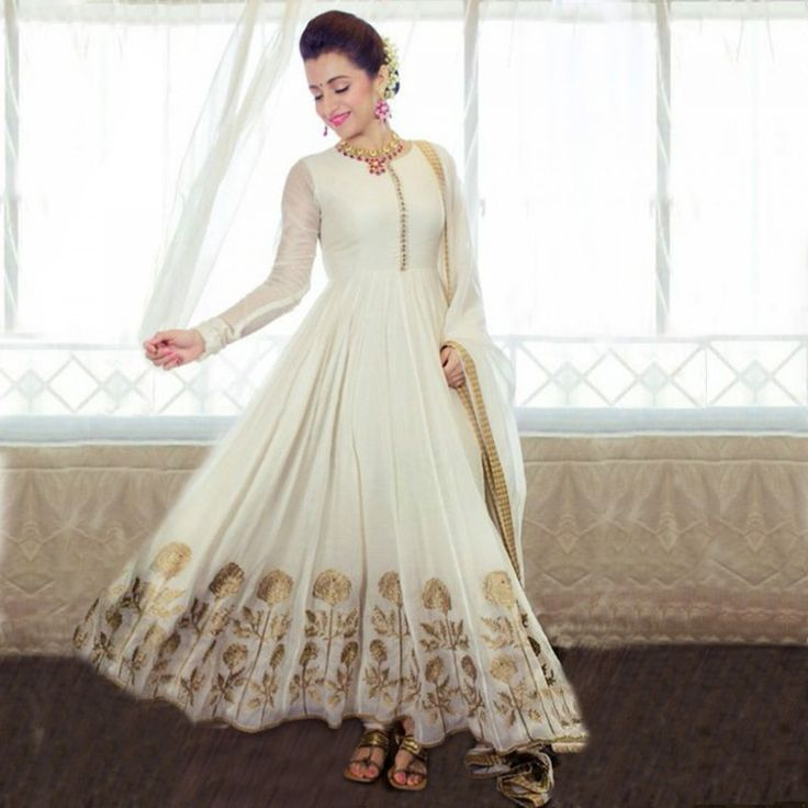 Adorable White Gold Anarkali Salwar Kameez Suit (Unstitched)
