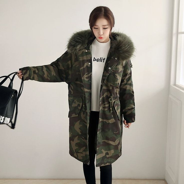 2017 New Winter Women Long Coat Camouflage Fur Collar Hooded Cotton Jacket Thick Warm Loose Parka Coat Female Armygreen Overcoat