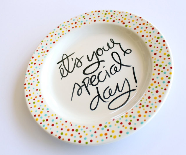 It's Your Special Day Small Rimmed Plate by Aedriel Originals via Etsy.