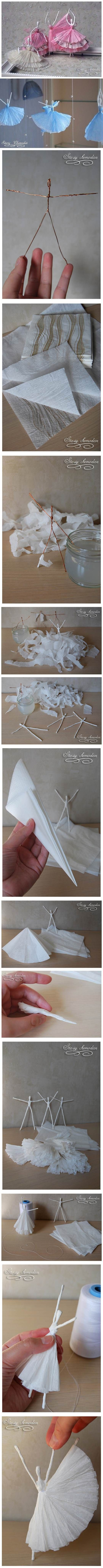 DIY Napkin Paper Ballerina 2 - taken from Stacey Chemodan's blog.  Charming ballerinas from wire and paper napkins.