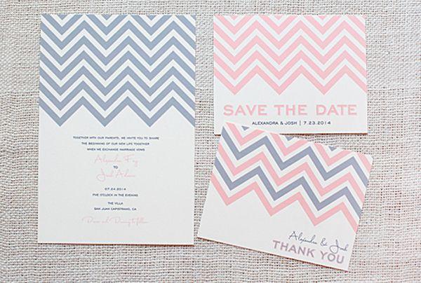 Chevron patroon op uitnodigingen en bedankkaartjes. Pinterested @ wedspiration.com.