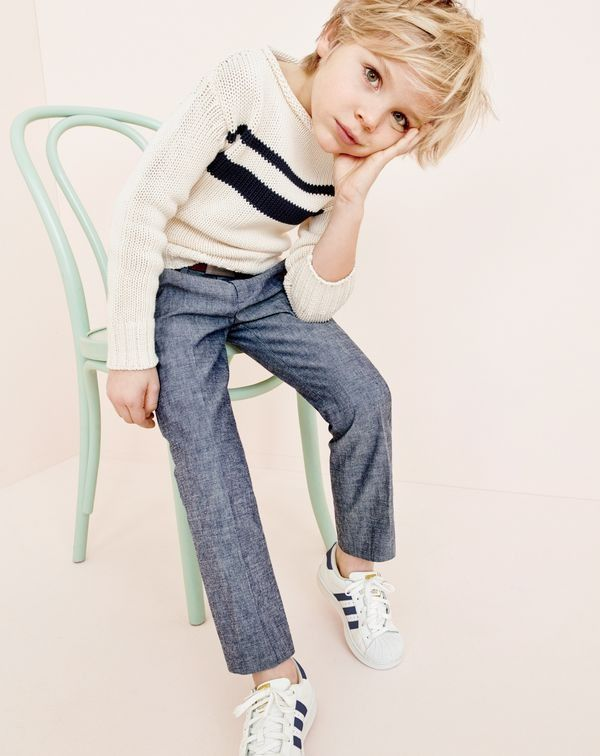 crewcuts boys' striped cotton rollneck sweater, slim Ludlow suit pant in Japanese chambray and Adidas® Superstar™ sneakers.