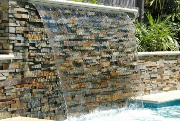 Ochre Rock Panel | Natural Stacked Stone Veneer waterfall