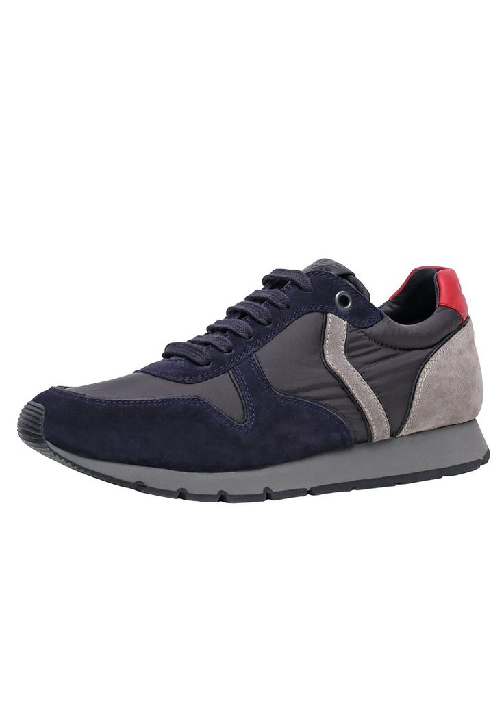 OSCAR - sneaker in velour e piumino - blu/militare/grigio