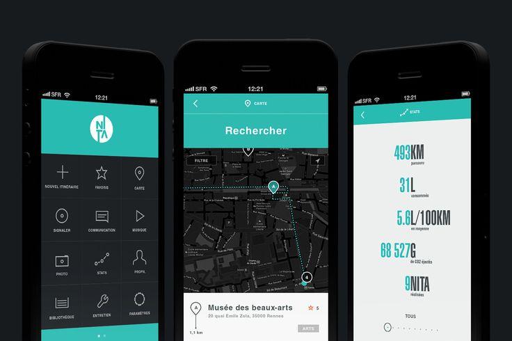 Application mobile Nita pour les conducteurs, design réalisé par friiio