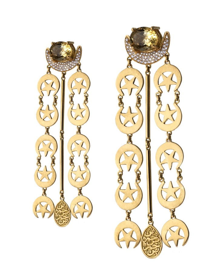 Azza Fahmy gold earrings with semi-precious stones; the star and crescent is a symbol of Islam.
