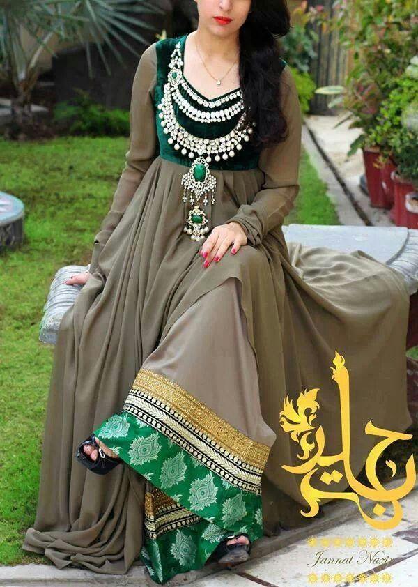 Exquisite Anarkali in Royal Green Velvet and Dirt Grey