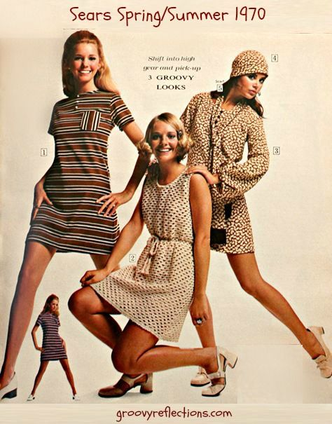 Brown dresses are groovy! Sears Spring Summer 1970