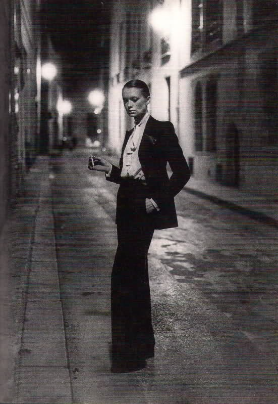 1970s Yves Saint Laurent trouser suit photographed by Helmut Newton.