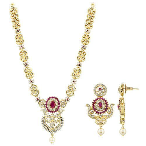Gold Plated Simulated Ruby and Cubic Zirconia Bollywood Indian Necklace Earrings Set #JS141