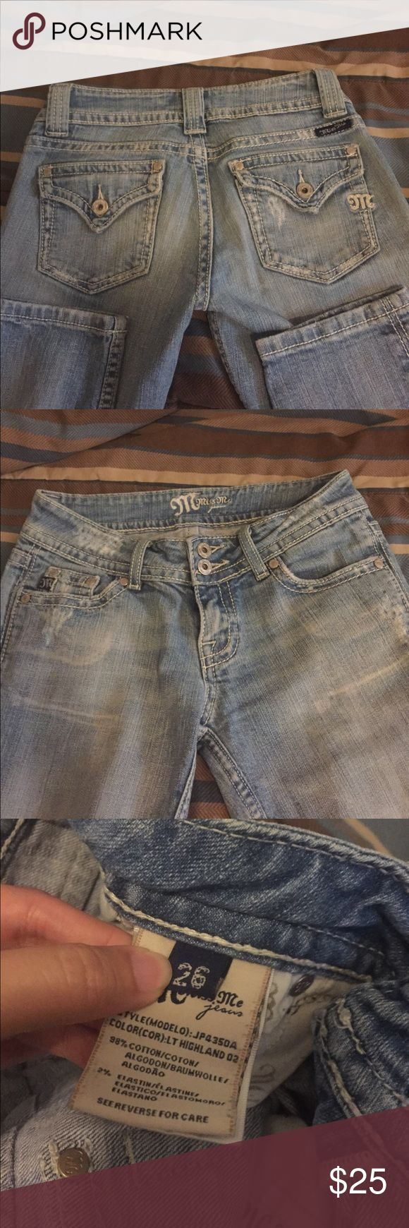 Miss me capris Super cute miss me capris. Just a little too snug for my liking. Slight manufacture distressing. Size 26 Miss Me Jeans Ankle & Cropped