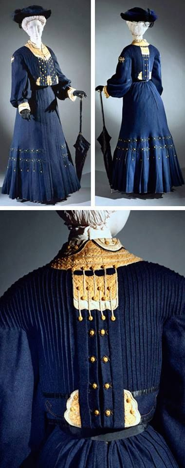 1906 Walking suit, jacket, and skirt. Shows the influence of the dress reform movement. Via Philadelphia Museum of Art.