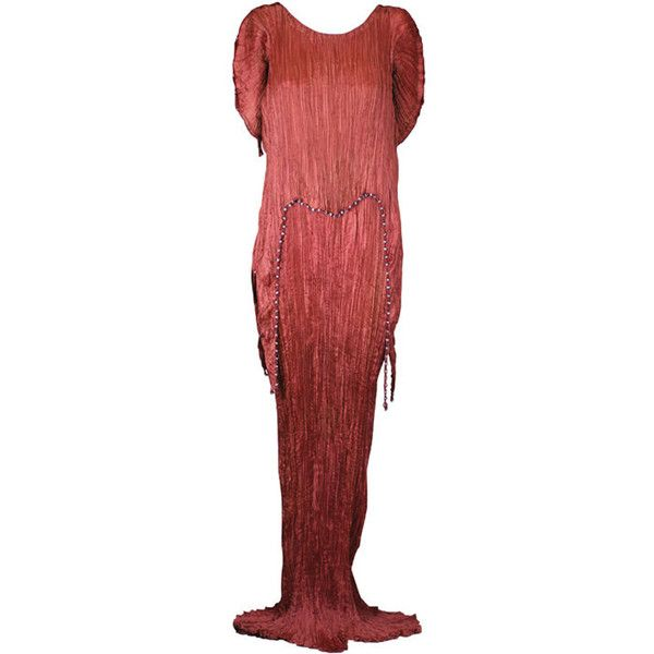 Mariano Fortuny Sienna Peplos Gown ❤ liked on Polyvore featuring dresses, gowns, multi color dress, red evening dresses, red evening gowns, colorful gowns and multi colored dress
