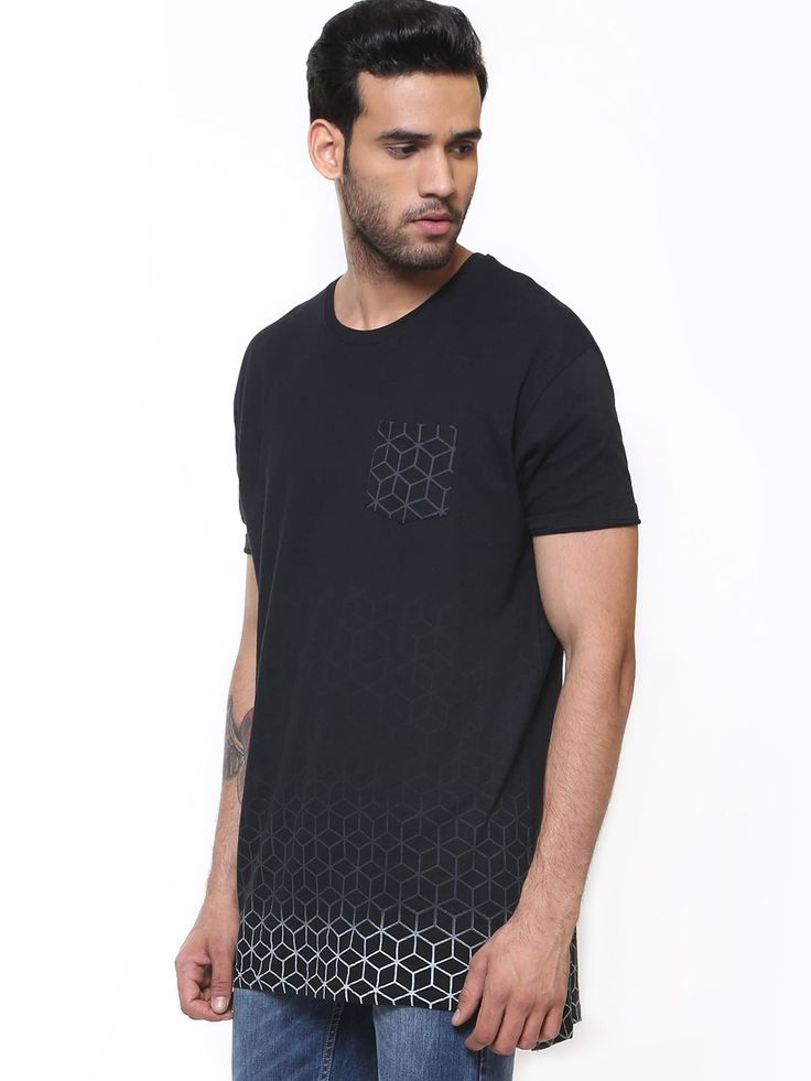 Buy brave soul gradient print longline t shirt for men for Printed t shirts india