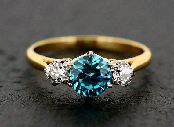 Engagement Ring - Vintage Blue Zircon & Diamond Three Stone Ring 18ct Gold $1369