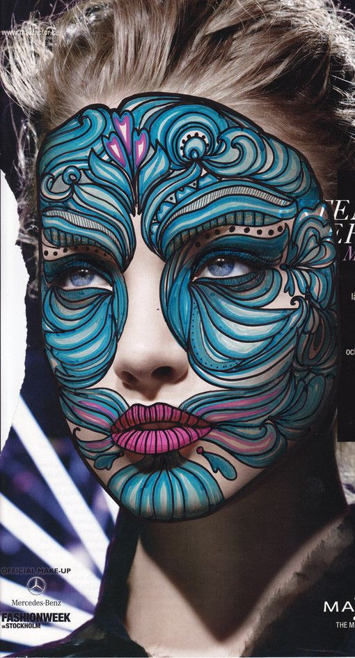 Face paintings on ads by Minna Salo, via Behance
