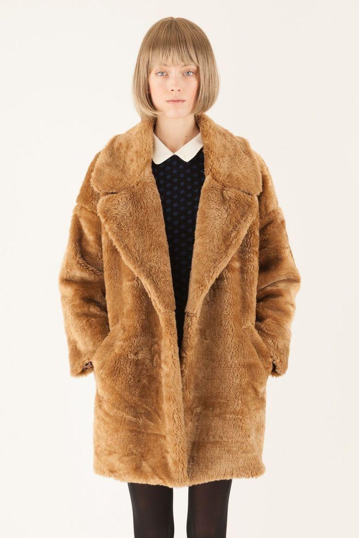 Cappotto in eco-pelliccia beige con revers - Lazzari Store