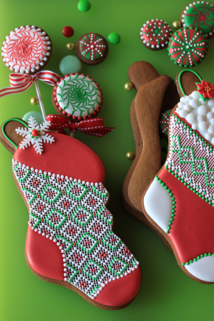Stuff-able Stocking Cookies - 3-D stocking cookies, stuffed with cookie lollipops, cookie candies, and other treats. By Julia M. Usher, author of Ultimate Cookies and host of Julia M. Usher's Ultimate Cookie Decorating Video Series.