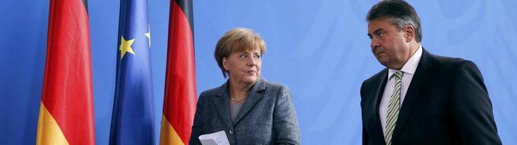 Angela Merkel und Sigmar Gabriel | Bildquelle: REUTERS https://www.tagesschau.de/inland/koalitionsgipfel-fluechtlinge-103.html - Große Koalition einigt sich auf umfassendes Maßnahmenpaket https://www.tagesschau.de/multimedia/video/video-114841.html