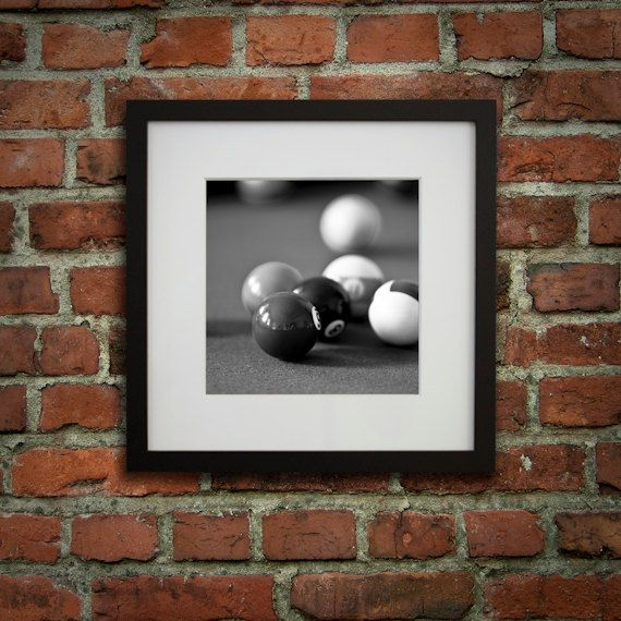 Framed wall art, Billiard room décor, Pool room décor, Black and white picture, Ready to hang // Billiards