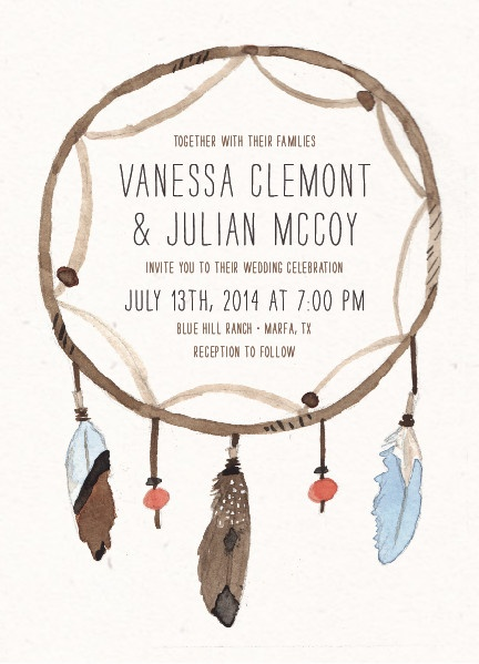 dream catcher wedding invitations by pistols for minted
