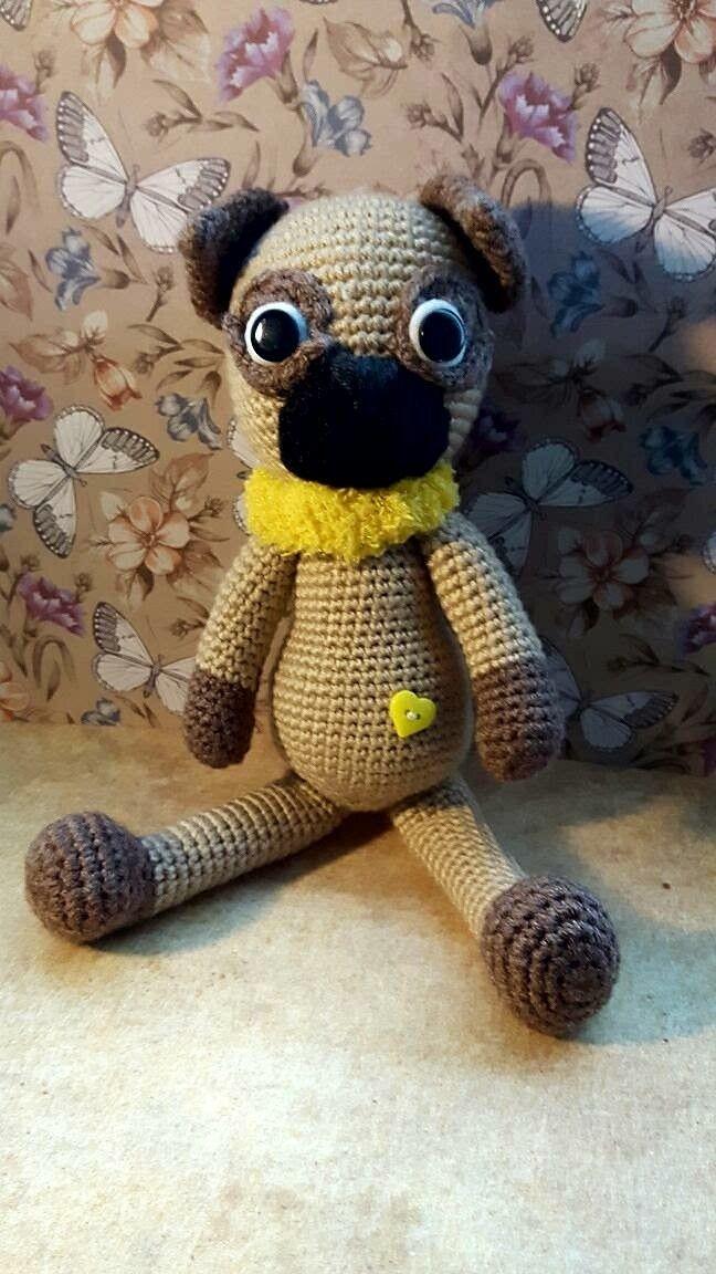 #Amigurumi #Häkeln #gehäkelt #Wolle #Winter #Weihnachten #Dekoration #Geschenk #Kinder #Baby #süß #Kuscheltier #Hund #weich #flauschig #Schlappohr #schmusen #kuscheln #Dawanda  #Spielzeug #Mops #süß