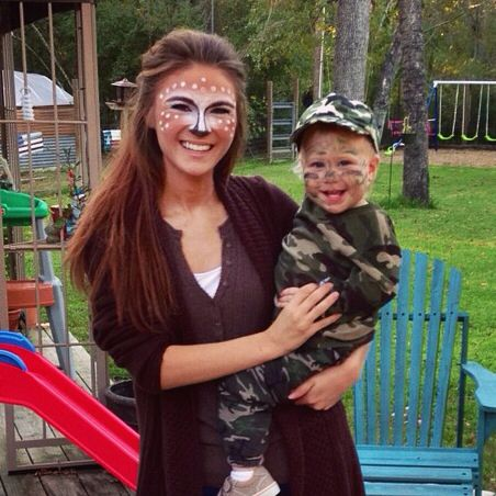 Mother/son Halloween costume! Hunter and deer (with twig antlers)