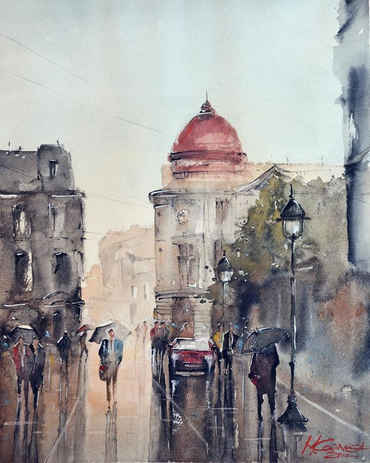 Maria Cornea - Streets of Bucharest - watercolor painting