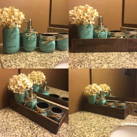 This listing is for an adorable, yet Rustic Planter Box With Mason Jar Bathroom Set! This is a perfect way to get your bathroom needs organized while looking super cute at the same time! This is a piece you are sure to love and have for years to come. This also makes a wonderful gift for any occasion that is also sure to be unique!!  ♥♥♥ ANY COLOR BATHROOM SET AVAILABLE! HYDRANGEA INCLUDED IN PRICE!!!! ♥♥♥  We use 100% reclaimed pallet and barn wood. This is not store bought. Our goal is to…