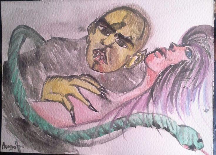 original watercolour Dracula il conte. Il principe dei vampiri. NOSFERATU.HORROR