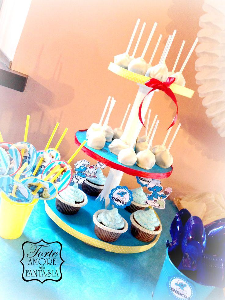 #Party a #Tema# #Personalizzati #Torte #Decorate #Smurfs #Party #Puffy #decorazione #Candy #Bar #Cake #Pop www.torteamorefantasia.com
