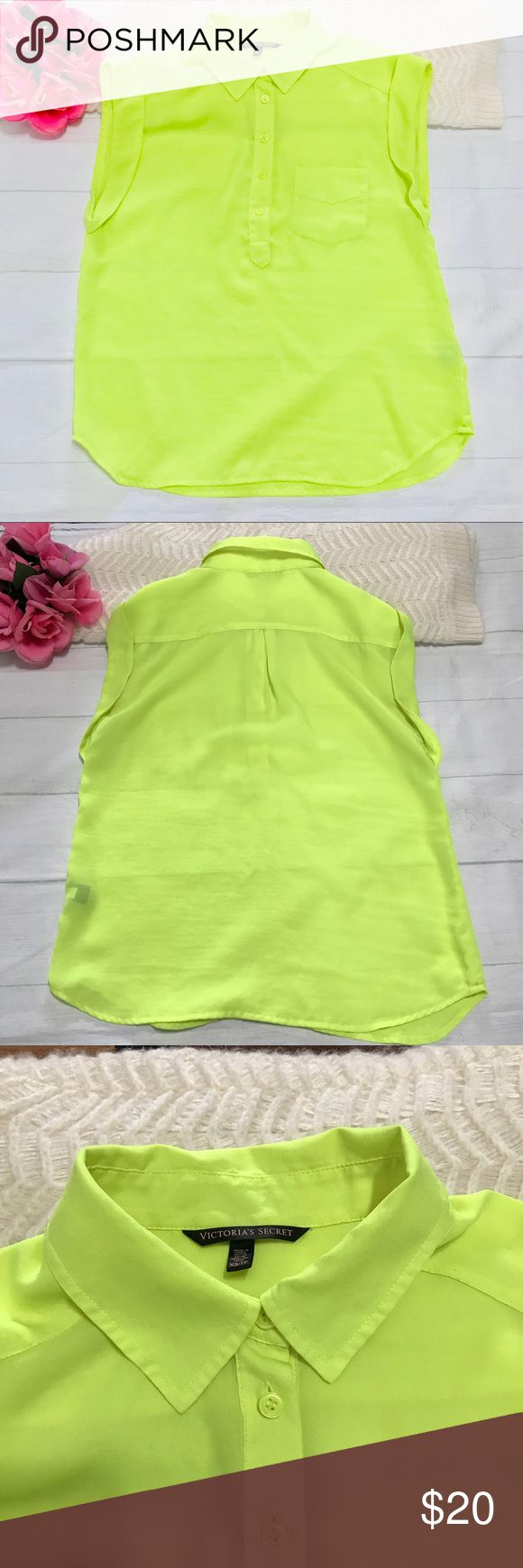 "Victoria's Secret Wo's Neon Top XS Victoria's Secret Wo's Neon Top XS  In excellent condition; lightweight; No damage, hole, stains or rips;  Flat Measurements: Shoulder to shoulder: 19"" Armpit to armpit: 17"" Waist: 17"" Length from shoulder: 27"" Note: Measurements were taken with the item laying flat on an even surface using a steel measuring tape and approximation. Please allow 0.5 to 1.0 inch margin of error.  Materials: 100% polyester   Item#57 Victoria's Secret Tops Blouses"