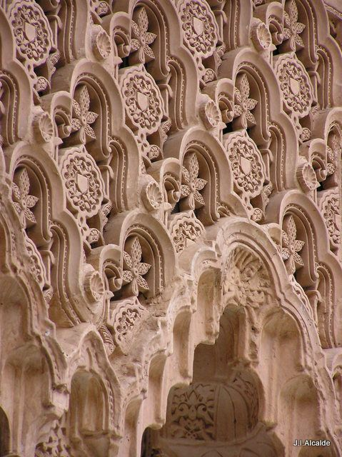 "Alhambra, Granada | ""Geometric patterns of pink limestone ran throughout the exterior, reminding Langdon of the Alhambra in Spain."" 