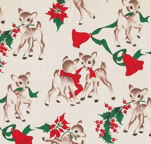 Vintage Christmas wrapping paper / gift wrap.