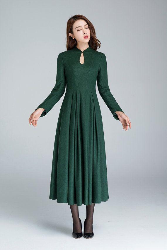 groene wollen jurk elegante jurk prom jurk partij jurk