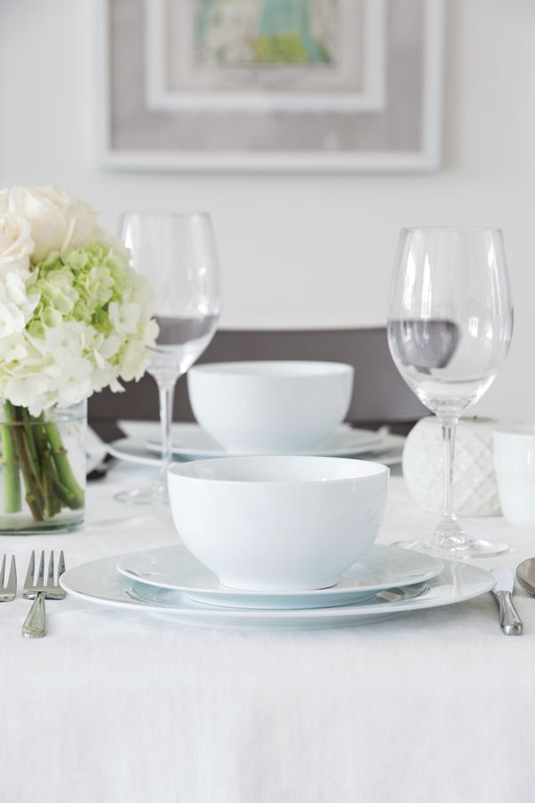 An essential for every new home, a white dish set is classic and elegant. Our Snow White dinnerware open stock collection is an elegant first set that you can easily add to.