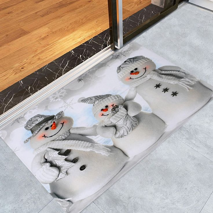 Christmas Snowmen Family Pattern Indoor Outdoor Area Rug - GREY WHITE W16 INCH * L24 INCH
