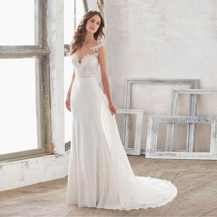 Alice New Arrival Bridal Gown with Watteau Train Cheap novia Chiffon Beach Wedding Dress Lace 20 ...