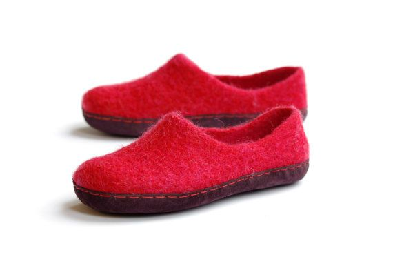 valentine's day slippers red wool slippers felted by VASlippers